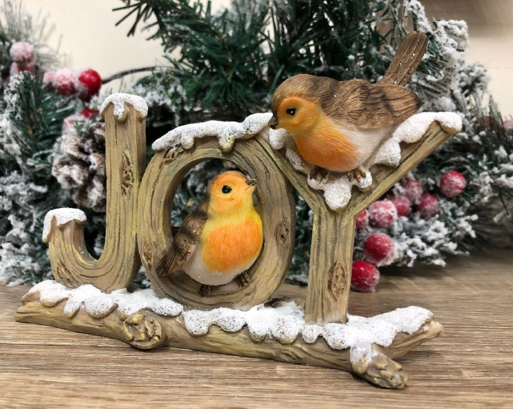 Christmas JOY Snowy Branch with two Robins Hand Painted Bird Ornament
